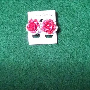 Red Rose Clip Earring
